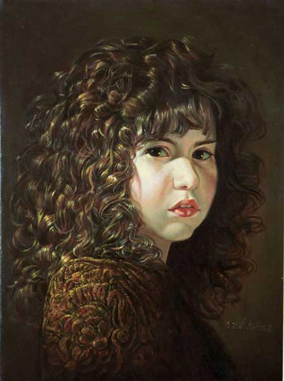 Girl With Curly Hair Drawing. Painting